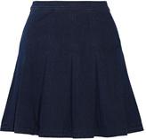 Diane von Furstenberg Gemma pleated stretch-denim mini skirt