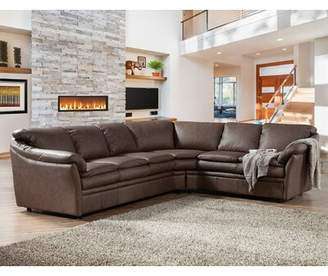 Loon Peak Uptown Leather Sectional Loon Peak Body Fabric: Southwestern Honey, Orientation: Right Hand Facing