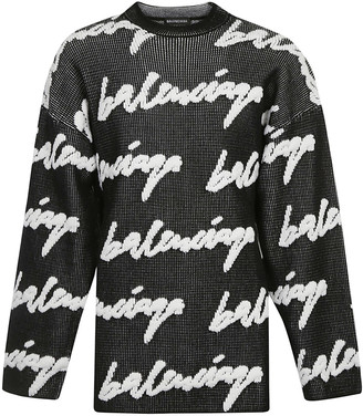 Balenciaga Oversize Signature Logo Embroidered Sweater