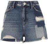 River Island Womens Mid blue wash distressed patch denim shorts