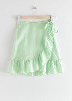 Thumbnail for your product : And other stories Ruffled Linen Wrap Mini Skirt