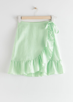 And other stories Ruffled Linen Wrap Mini Skirt