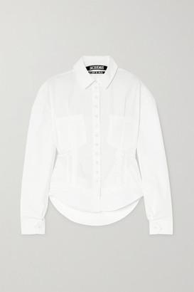 Jacquemus Cueillette Tie-detailed Cutout Cotton-poplin Shirt - White