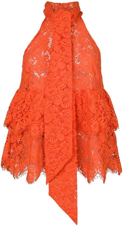 Ganni Eyelash lace halterneck top