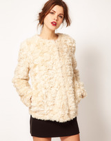 Warehouse Crushed Faux Fur Coat