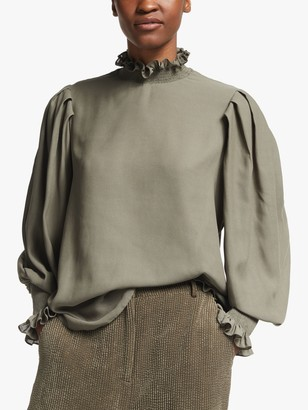 Second Female Florenza Frill High Neck Blouse, Green