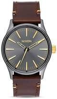 Nixon Sentry Leather Strap Watch, 38mm
