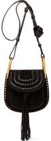 Chloé Hudson Mini Whipstitched Suede Shoulder Bag - Black