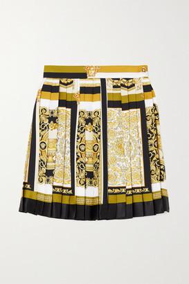Versace Pleated Printed Silk-twill Mini Skirt - Brown