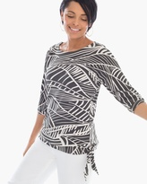 Chico's Linear Leaves Side-Tie Top