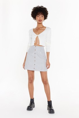 Nasty Gal Womens Stripe Button Front Skirt - Green - 10