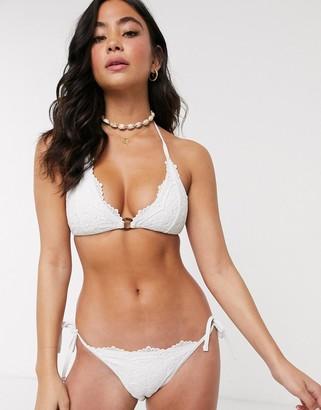 New Look tie side bikini bottoms in white