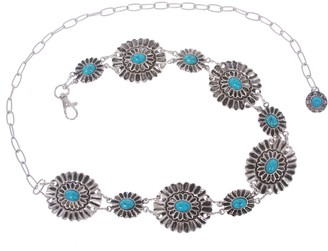 "Beltiscool Women's Western Turquoise Stone Blue Concho Chain Belt one size : 28""- 45"""