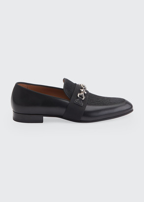 Christian Louboutin Men's Panamax Spiked Leather/Fabric Loafers