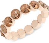 Betsey Johnson Pink-Plated Patina Crystal Stretch Bracelet
