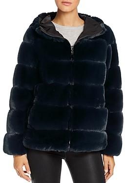 Via Spiga Reversible Hooded Faux Fur Jacket