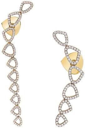 MARINA B 18kt yellow gold Trina asymmetrical diamond earrings
