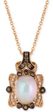 "LeVian Le Vian Neopolitan Opal (1-1/5 ct. t.w.) & Diamond (1/4 ct. t.w.) 18"" Pendant Necklace in 14k Rose Gold"
