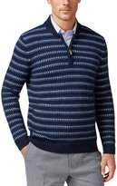 Tasso Elba Mens Pattern Elbow Patches 1/2 Zip Sweater Blue L