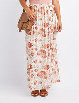 Charlotte Russe Floral Mesh Maxi Skirt
