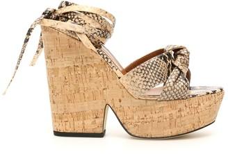 Paris Texas Python Print Knotted Wedge Sandals
