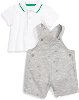 Little Me Infant Boy's Dinos Polo Shirt & Overall Shorts Set