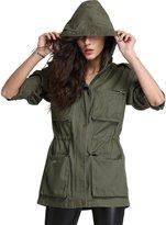 Escalier Women's Anorak Jacket Lightweight Parka Drawstring Hooded Military Coat__