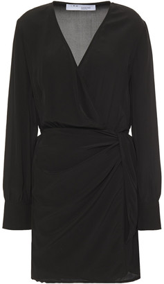 IRO Draped Crepe De Chine Mini Wrap Dress