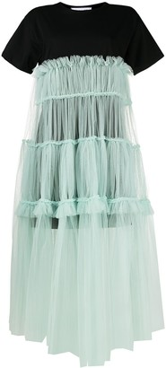 Act N�1 tulle-overlay T-shirt dress