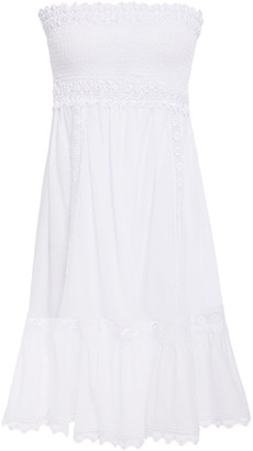 Charo Ruiz Ibiza Tristana Strapless Crocheted Lace-trimmed Cotton-blend Voile Mini Dress