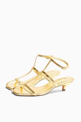 Topshop Womens Nika Gold Cage Mini Heels - Gold
