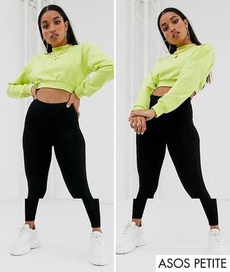 ASOS DESIGN Petite 2 pack high waisted leggings in black SAVE