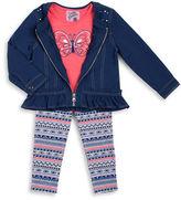 Little Lass Girls 2-6x Knit Denim Jacket, Tee and Leggings Set