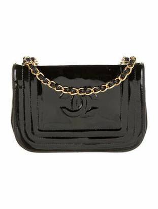 Chanel Vintage Patent Leather Shoulder Bag Black