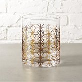 CB2 Nouveau Gold Double Old-Fashioned Glass