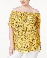 MICHAEL Michael Kors Size Printed Off-The-Shoulder Top