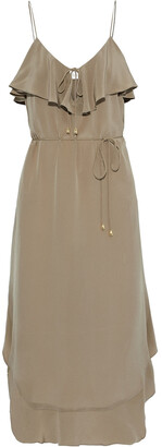 Zimmermann Ruffled Silk Crepe De Chine Midi Dress
