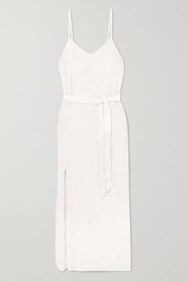 retrofete Rebecca Velvet-trimmed Sequined Chiffon Dress