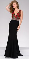Jovani V-Shape Floral Embroidered Jersey Evening Gown