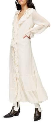 Topshop Chiffon Ruffle Maxi Dress