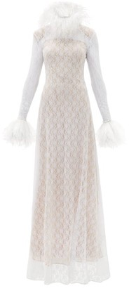 Christopher Kane Feather-trimmed Chantilly-lace Gown - White