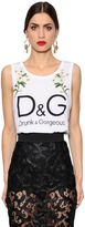 Dolce & Gabbana Embroidered Printed Cotton Jersey Top