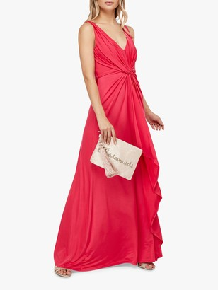 Monsoon Jessie Jersey Twist V-Neck Maxi Dress, Pink
