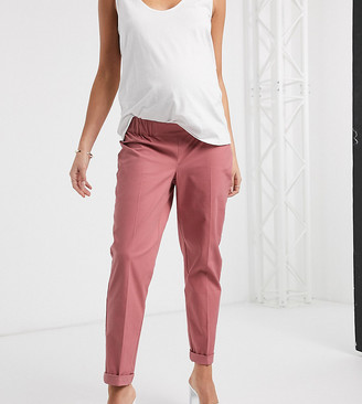 ASOS DESIGN Maternity chino trousers in clay