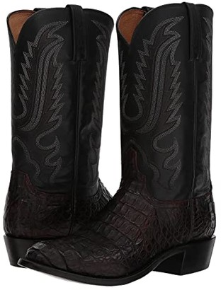 Lucchese Walter (Black Cherry Hornaback Caiman) Cowboy Boots