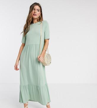 Asos Tall ASOS DESIGN Tall tiered smock t-shirt midi dress in sage