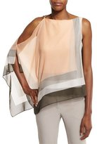 Halston Asymmetric Draped Colorblock Top, Peach Blush
