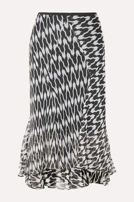 Diane von Furstenberg Debra Printed Silk-crepon Midi Skirt - Black