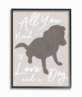 """Stupell Industries All You Need is Love and a Dog Framed Giclee Art, 11"""" x 14"""""""