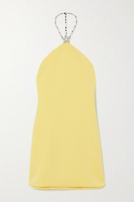 Miu Miu Embellished Crepe Halterneck Mini Dress - Yellow